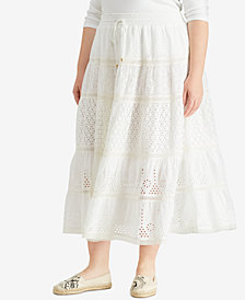 Lauren Ralph Lauren Plus Size A-Line Cotton Skirt