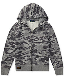 Polo Ralph Lauren Camo-Print Cotton Hoodie, Big Boys