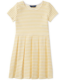 Polo Ralph Lauren Pleated Ponté Knit Dress, Big Girls