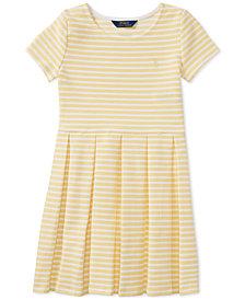 Polo Ralph Lauren Pleated Ponté Knit Dress, Big Girls