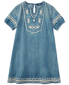 Polo Ralph Lauren Embroidered Cotton Denim Dress, Big Girls