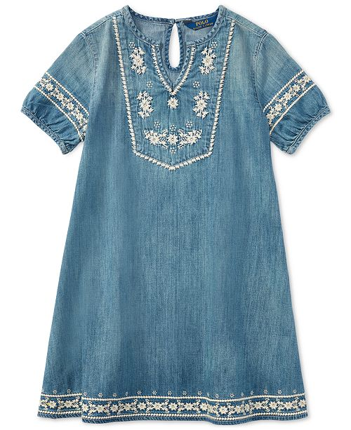 86b6974f4092 Polo Ralph Lauren Embroidered Cotton Denim Dress