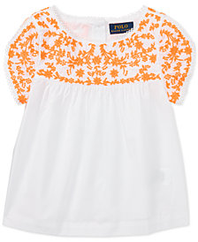 Polo Ralph Lauren Embroidered Cotton Top, Little Girls