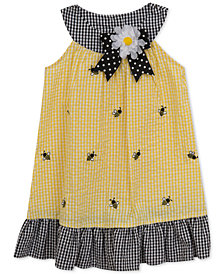 Rare Editions Bumblebee Gingham Seersucker Dress, Little Girls