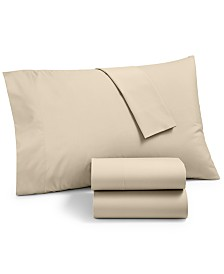 CLOSEOUT! Martha Stewart Essentials Solid 220 Thread Count 4-Pc. Queen Sheet Set, Created for Macy's