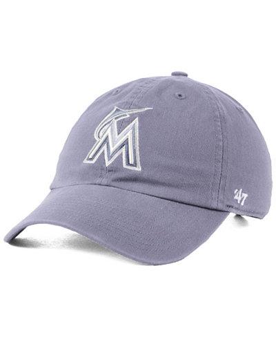 '47 Brand Miami Marlins Dark Gray CLEAN UP Cap
