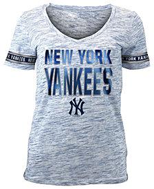 5th & Ocean Women's New York Yankees Plus Space Dye Sleeve T-Shirt
