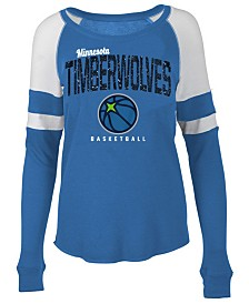 5th & Ocean Women's Minnesota Timberwolves Space Dye Long Sleeve T-Shirt