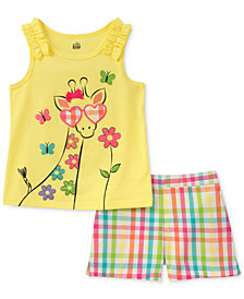 Kids Headquarters 2-Pc. Giraffe Tank Top & Rainbow Check Shorts Set, Little Girls