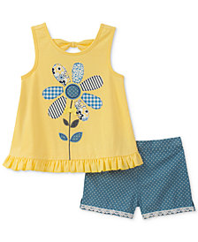 Kids Headquarters 2-Pc. Flower Appliqué Tank Top & Shorts Set, Toddler Girls