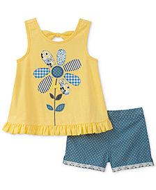 Kids Headquarters 2-Pc. Flower Appliqué Tank Top & Shorts Set, Little Girls
