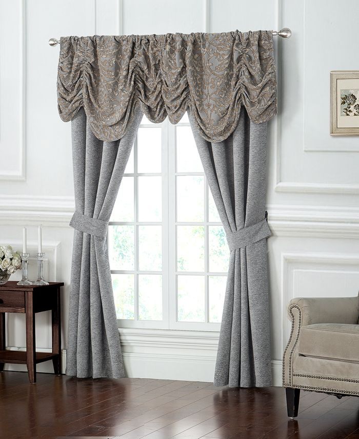 """Waterford - Carrick Textured 50"""" x 84"""" Pole Top Window Panel Pair with Tiebacks"""