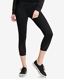 DKNY Sport High-Waist Mesh-Inset Ankle Leggings