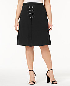 NY Collection Plus Size Lace-Up Skirt