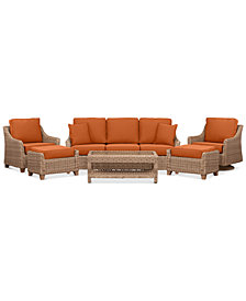 Willough Wicker Outdoor  6-Pc. Set (1 Sofa, 1 Club Chair, 1 Swivel Glider, 1 Coffee Table & 2 Ottomans) with Custom Sunbrella® Colors, Created For Macy's