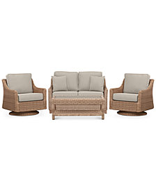 Willough Wicker Outdoor 4-Pc. Set (1 Loveseat, 2 Swivel Gliders & 1 Coffee Table), with Custom Sunbrella® Colors, Created For Macy's