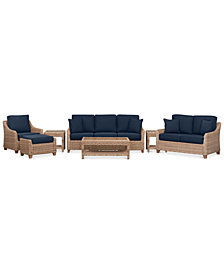 Willough Wicker Outdoor 7-Pc. Set (1 Sofa, 1 Loveseat, 1 Club Chair, 1 Coffee Table, 2 End Tables & 1 Ottoman) with Custom Sunbrella® Colors, Created For Macy's