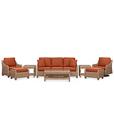Willough Wicker Outdoor 8-Pc. Set (1 Sofa, 1 Club Chair, 1 Swivel Glider, 1 Coffee Table, 2 Ottomans & 2 End Tables) with Custom Sunbrella® Colors, Created For Macy's