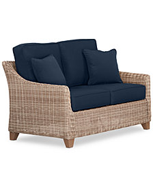 Willough Wicker Outdoor Loveseat: with Custom Sunbrella® Colors, Created For Macy's