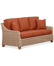 Willough Wicker Outdoor Sofa: with Custom Sunbrella® Colors, Created For Macy's