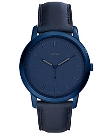 Fossil Men's Minimalist Blue Leather Strap Watch 44mm