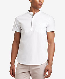 Kenneth Cole Men's Band-Collar Popover Pocket Shirt