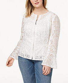 I.N.C. Plus Size Lace Illusion Jacket, Created for Macy's