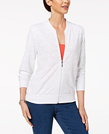 Alfred Dunner Petite Mandarin-Collar Zippered Jacket