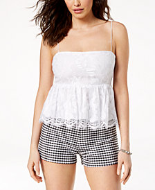 GUESS Francine Lace Peplum Top