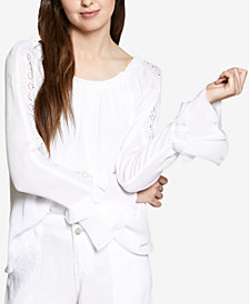 Sanctuary Artisan Cotton Eyelet-Sleeve Top