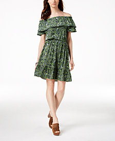 MICHAEL Michael Kors Petite Paisley Off-The-Shoulder Peasant Dress