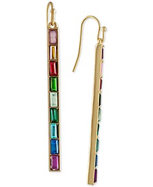 Gold-Tone Multi-Stone Bar Linear Drop Earrings