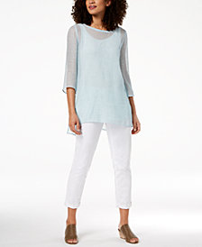 Eileen Fisher Mesh Tunic, Tank Top & Boyfriend Jeans