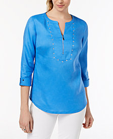 JM Collection Studded Zip-Neck Top, Created for Macy's