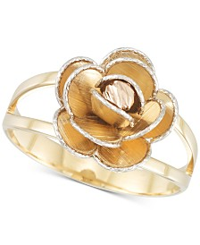 Tri-Colour Flower Split Shank Ring in 14k Gold, White Gold & Rose Gold