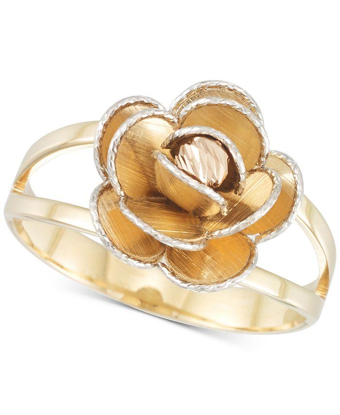 Italian Gold - Tri-Colour Flower Split Shank Ring in 14k Gold, White Gold & Rose Gold