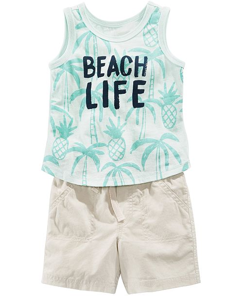 First Impressions Beach-Print Tank Top & Shorts, Baby Boys, Created for Macy's