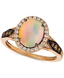 Le Vian Chocolatier® Neopolitan Opal™ (1-1/5 ct. t.w.) & Diamond (3/8 ct. t.w.) Ring in 14k Rose Gold