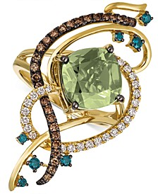Exotics® Crazy Collection® Mint Julep Quartz™ (3-1/4 ct. t.w.) & Diamond (3/4 ct. t.w.) Statement Ring in 14k Gold