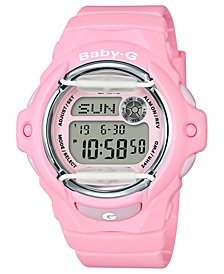 Baby G Women's Digital Pink Resin Strap Watch 42.6mm