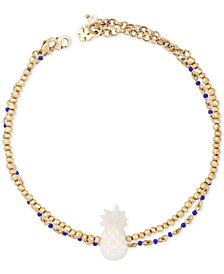 Lucky Brand Gold-Tone 2-Pc. Set Beaded Pineapple Anklets, Created for Macy's