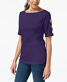 Karen Scott Cotton Cutout Top, Created for Macy's