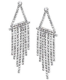 Nina Silver-Tone Crystal Fringe Chandelier Earrings