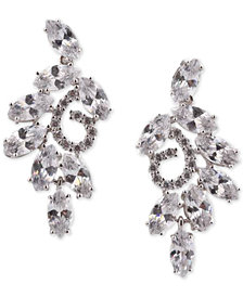 Nina Silver-Tone Crystal Cluster Swirl Drop Earrings