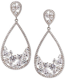 Nina Silver-Tone Crystal Drop Earrings