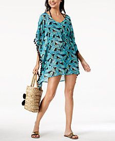 Miken Juniors' Leaf-Print V-Back Tassled Tunic Cover-Up