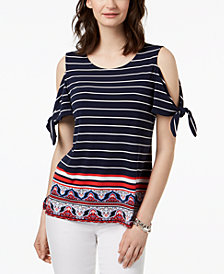 Charter Club Petite Tie-Sleeve Cold-Shoulder Top, Created for Macy's