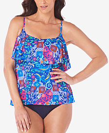 Swim Solutions Bali Printed Tankini Top & Tummy-Control High-Waist Bottoms, Created for Macy's