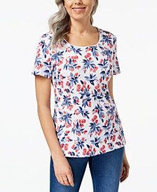 Karen Scott Petite Floral-Print Scoop-Neck Top, Created for Macy's