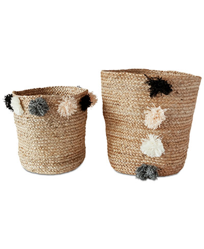 Round Jute Braided Baskets with Pom Pom, Set of 2